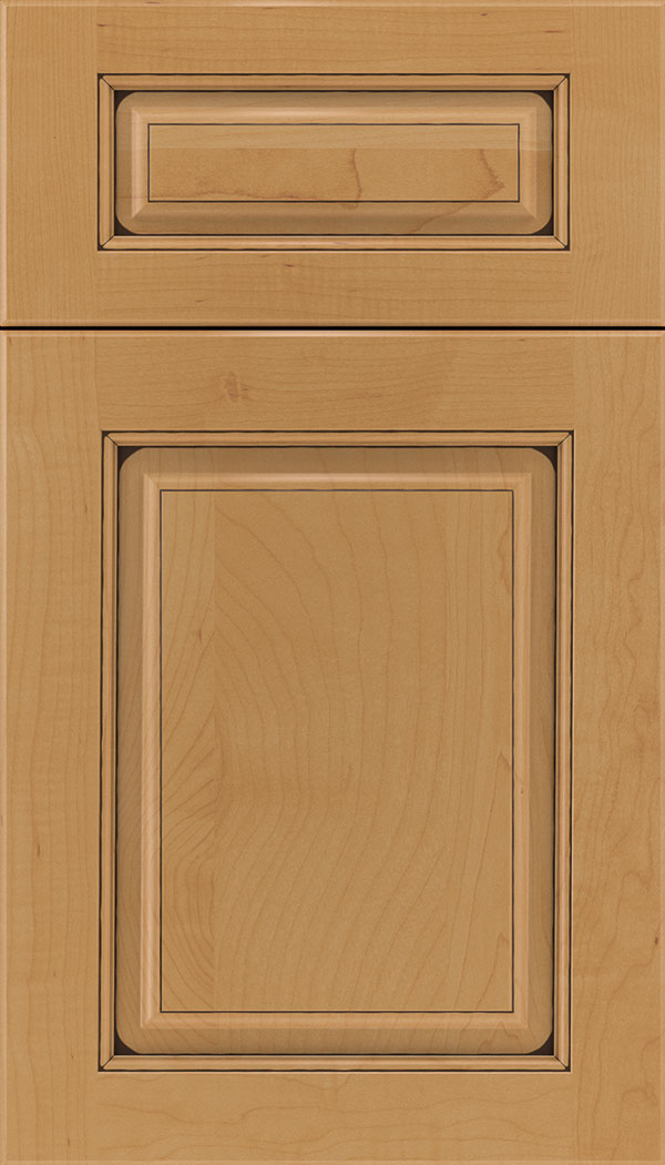 Marquis 5pc Maple raised panel cabinet door in Ginger with Black glaze