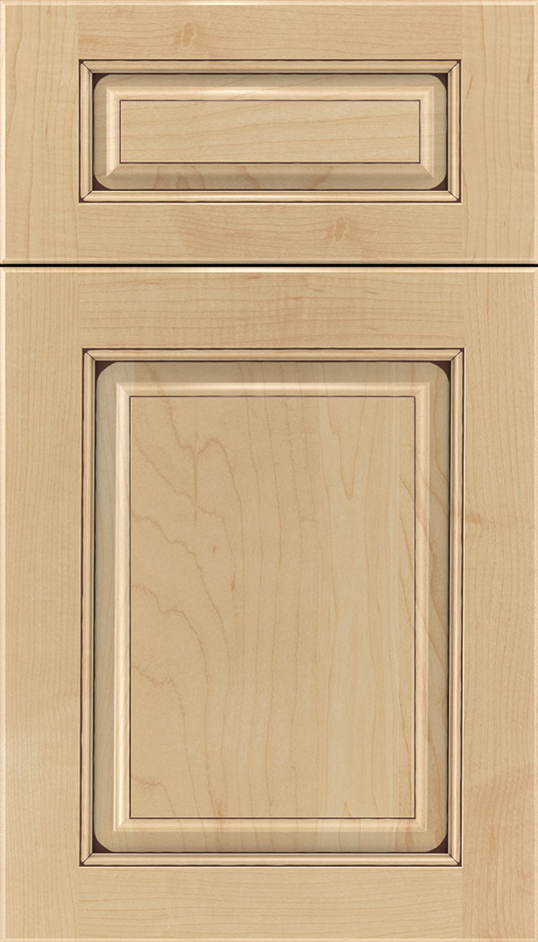 Marquis 5pc Maple raised panel cabinet door in Natural with Mocha glaze