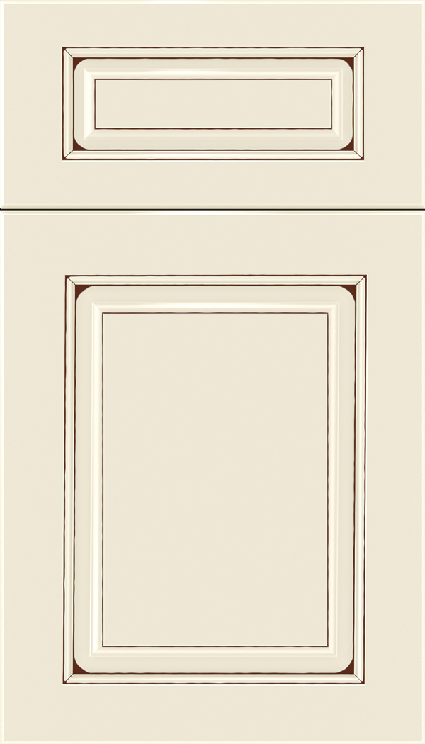 Marquis 5pc Maple raised panel cabinet door in Seashell with Mocha glaze