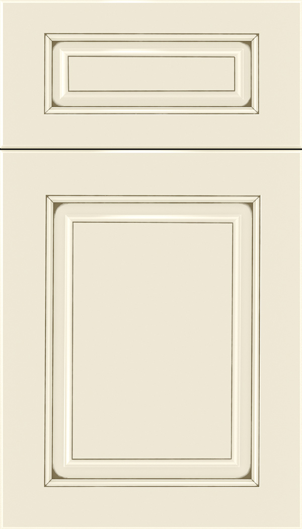 Marquis 5pc Maple raised panel cabinet door in Seashell with Smoke glaze