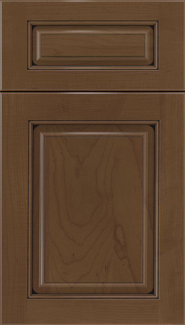 Marquis 5pc Maple raised panel cabinet door in Sienna with Black glaze
