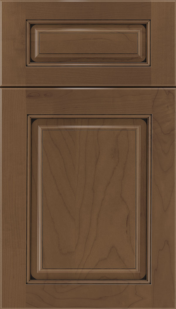 Marquis 5pc Maple raised panel cabinet door in Toffee with Black glaze