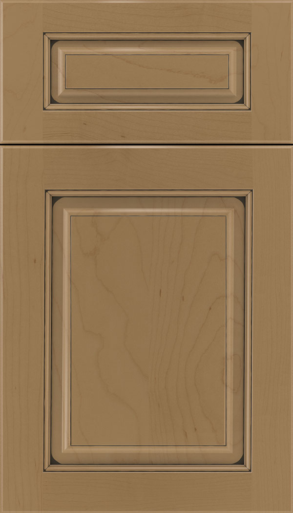 Marquis 5pc Maple raised panel cabinet door in Tuscan with Black glaze