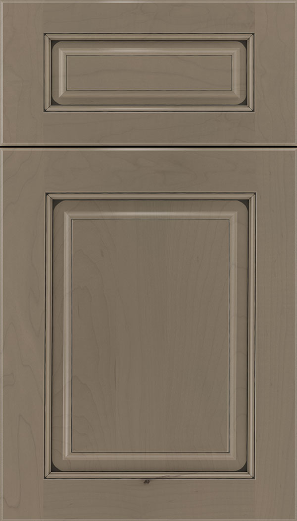 Marquis 5pc Maple raised panel cabinet door in Winter with Black glaze