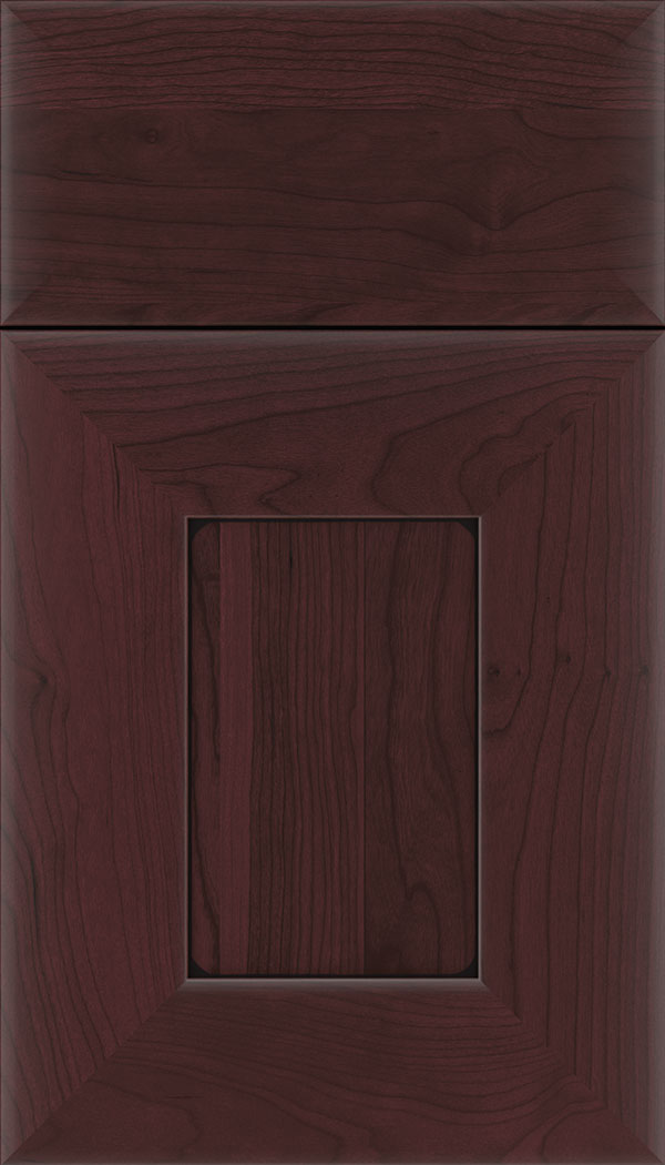 Napoli Cherry flat panel cabinet door in Bordeaux with Black glaze