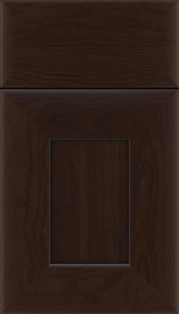 Napoli Cherry flat panel cabinet door in Cappuccino with Black glaze