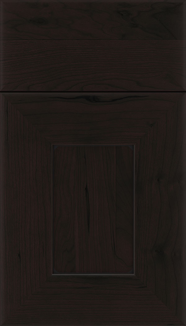 Napoli Cherry flat panel cabinet door in Espresso with Black glaze