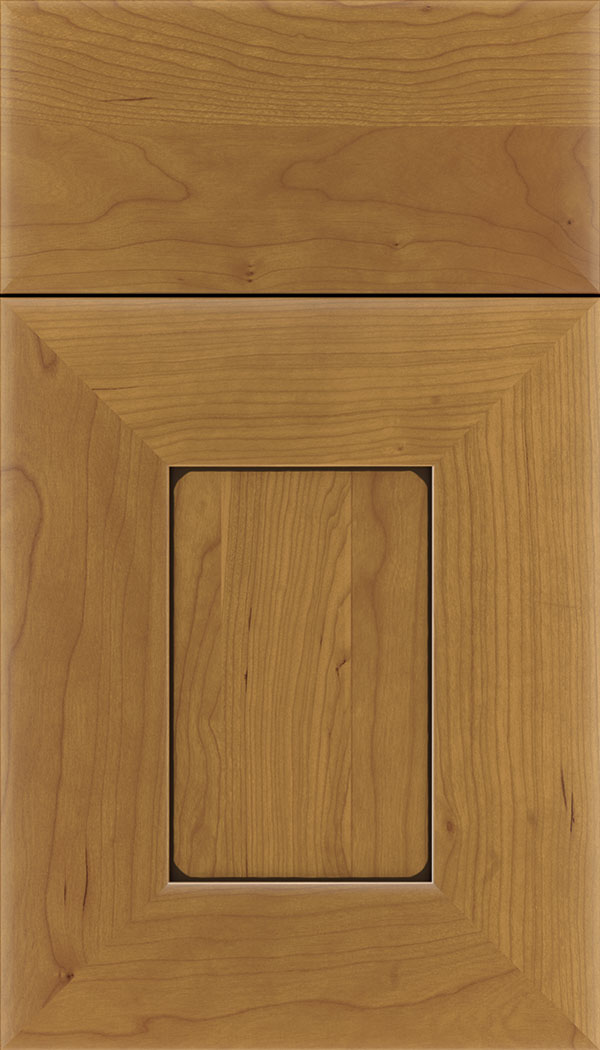 Napoli Cherry flat panel cabinet door in Ginger with Black glaze