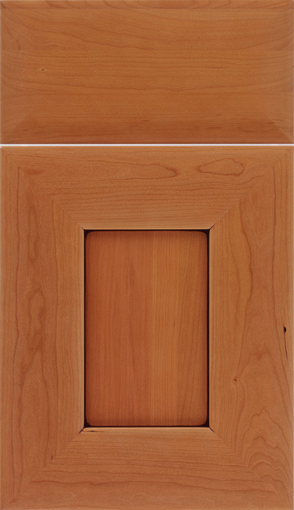 Napoli Cherry flat panel cabinet door In Ginger with Mocha glaze