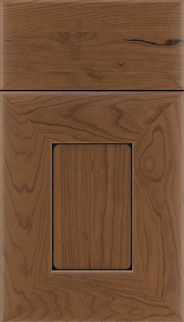 Napoli Cherry flat panel cabinet door in Nutmeg with Black glaze