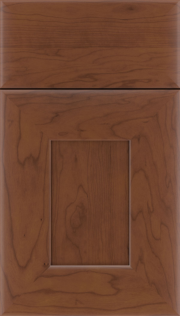 Napoli Cherry flat panel cabinet door in Russet