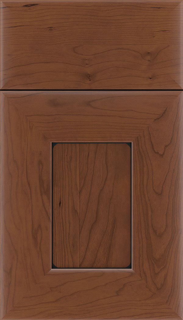Napoli Cherry flat panel cabinet door in Russet with Black glaze