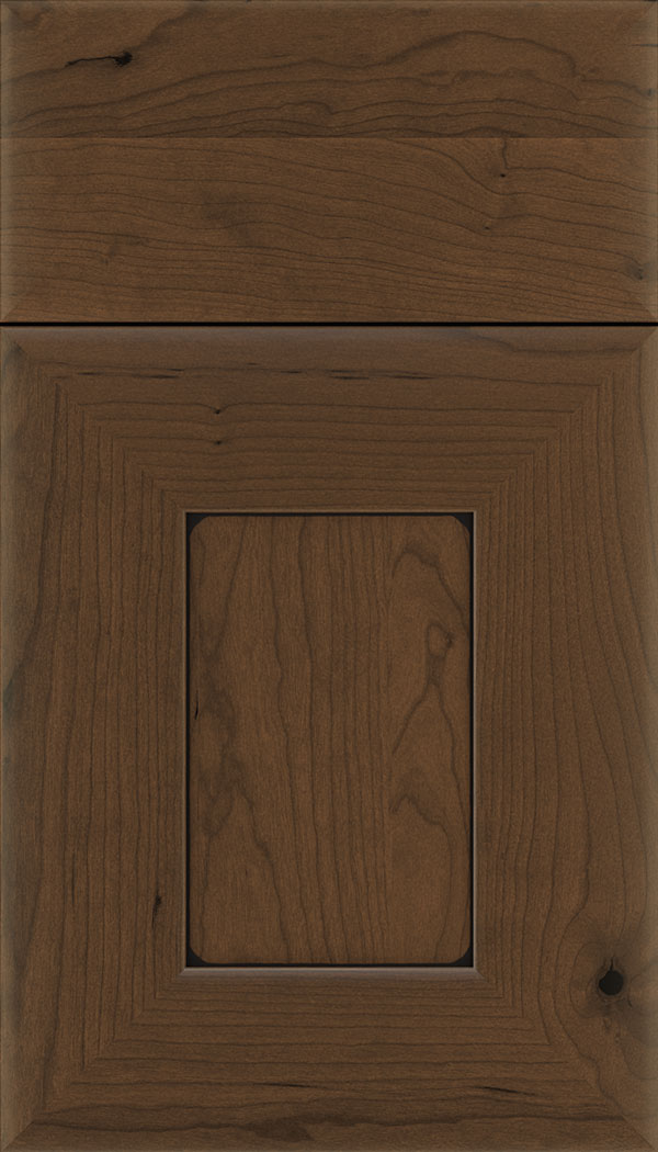 Napoli Cherry flat panel cabinet door in Sienna with Black glaze