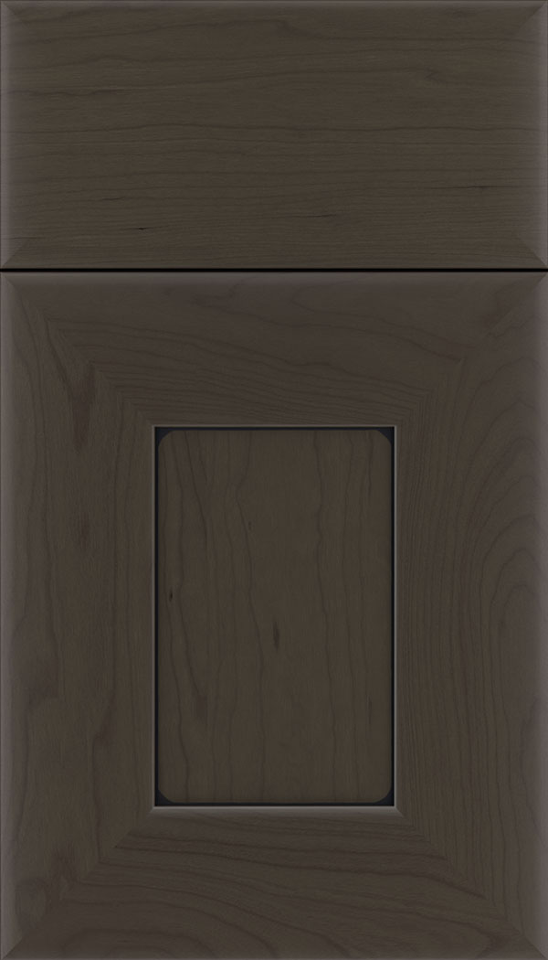 Napoli Cherry flat panel cabinet door in Thunder with Black glaze