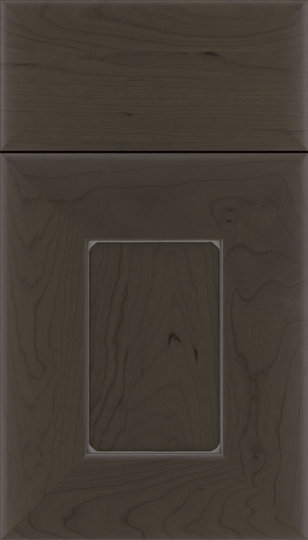 Napoli Cherry flat panel cabinet door in Thunder with Pewter glaze