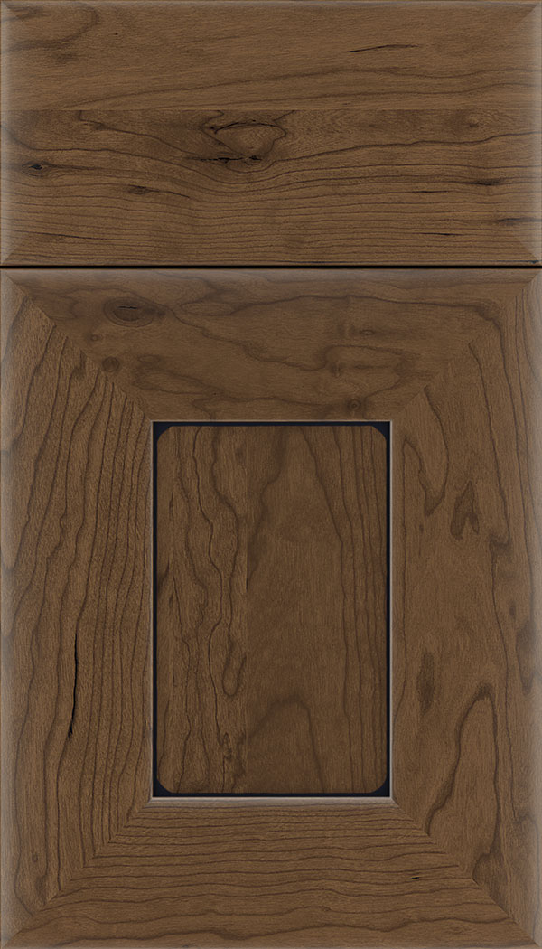 Napoli Cherry flat panel cabinet door in Toffee with Black glaze