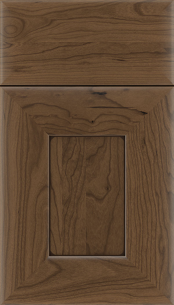 Napoli Cherry flat panel cabinet door in Toffee with Mocha glaze