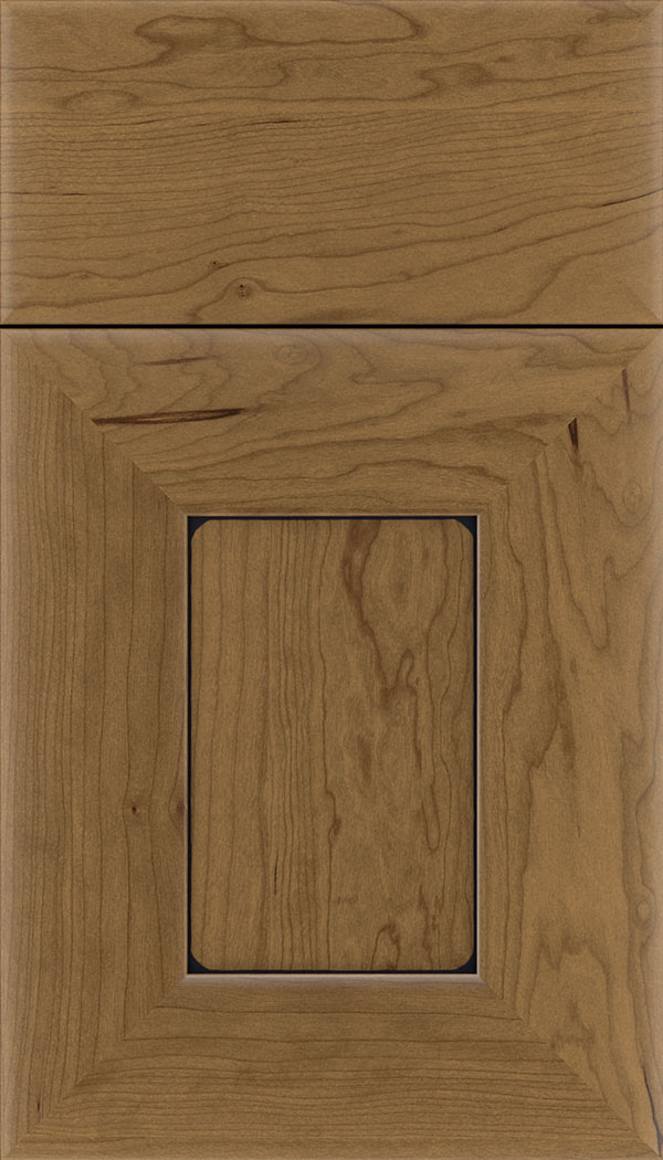 Napoli Cherry flat panel cabinet door in Tuscan with Black glaze