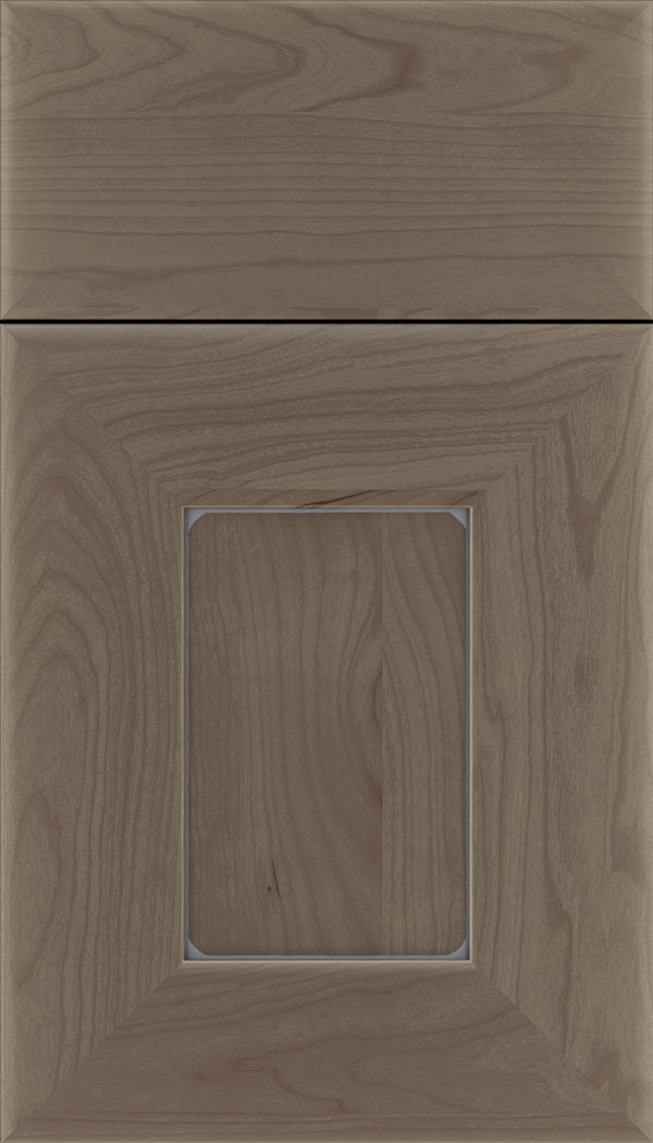 Napoli Cherry flat panel cabinet door in Winter with Pewter glaze