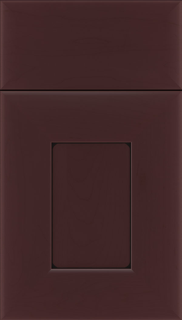 Napoli Maple flat panel cabinet door in Bordeaux with Black glaze
