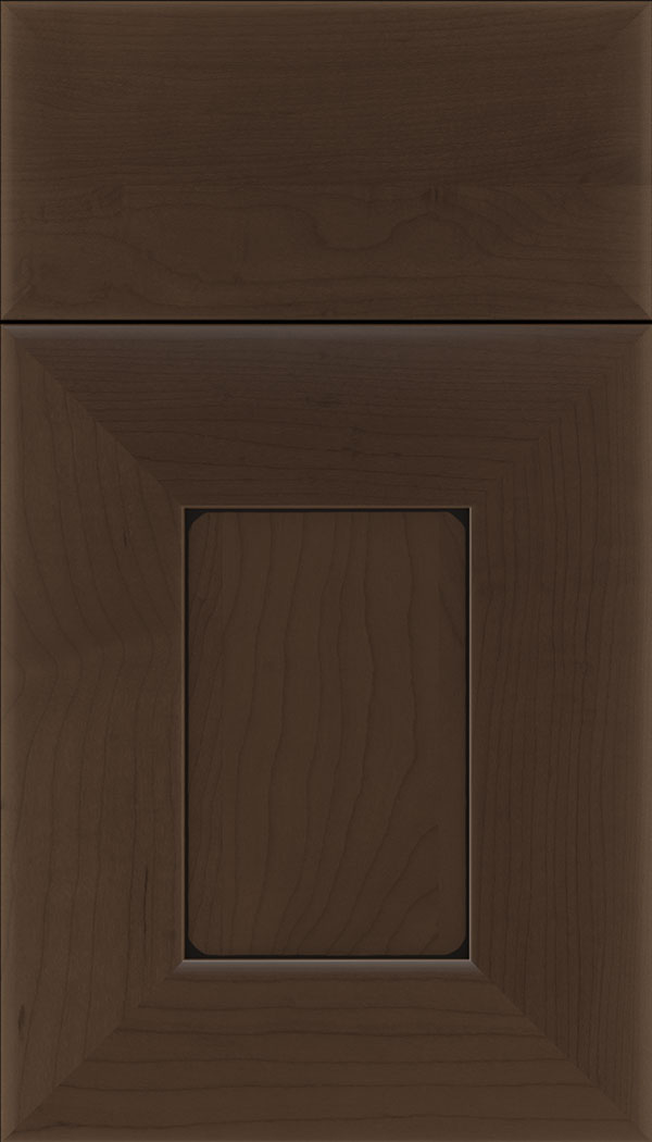 Napoli Maple flat panel cabinet door in Cappuccino with Black glaze