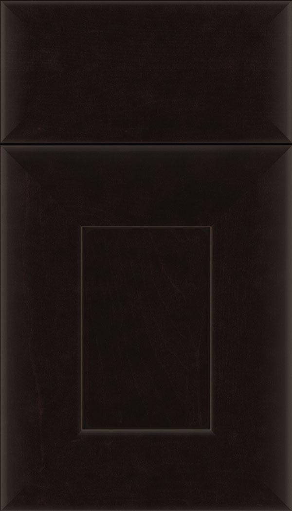 Napoli Maple flat panel cabinet door in Espresso with Black glaze