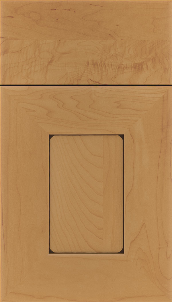 Napoli Maple flat panel cabinet door in Ginger with Black glaze