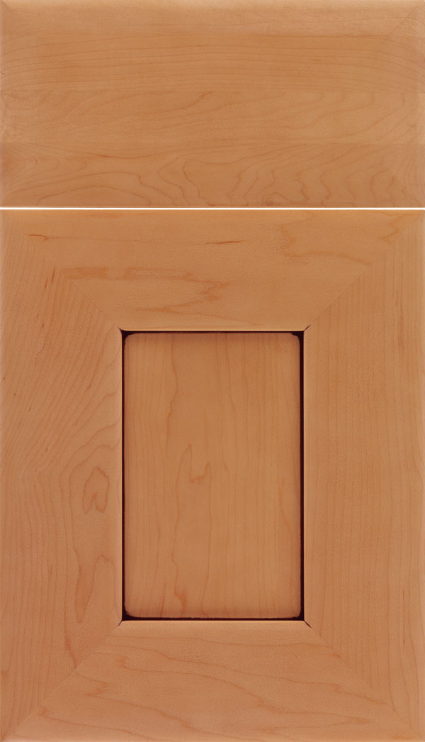 Napoli Maple flat panel cabinet door in Ginger with Mocha glaze