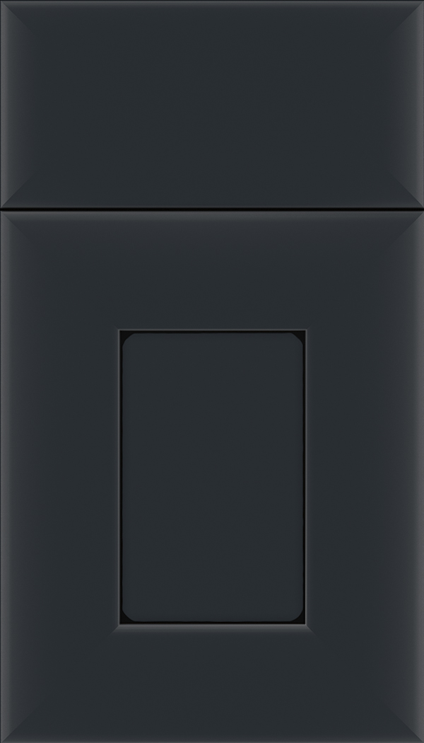 Napoli Maple flat panel cabinet door in Gunmetal Blue with Black glaze