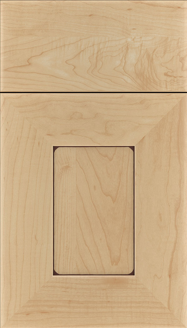 Napoli Maple flat panel cabinet door in Natural with Mocha glaze