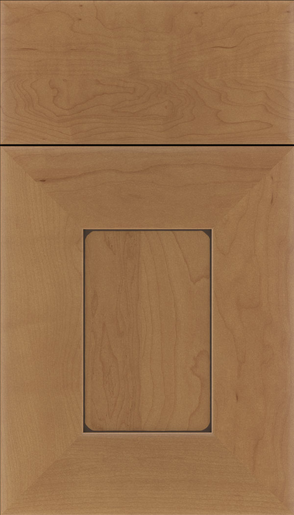 Napoli Maple flat panel cabinet door in Nutmeg with Mocha glaze