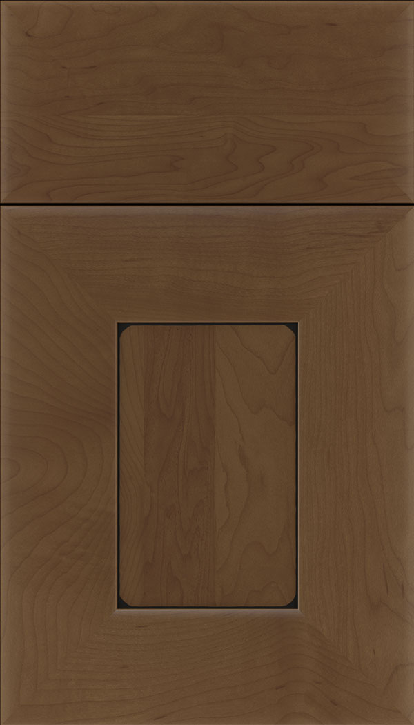 Napoli Maple flat panel cabinet door in Sienna with Black glaze