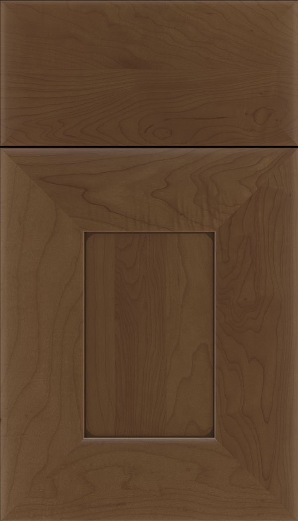 Napoli Maple flat panel cabinet door in Sienna with Mocha glaze