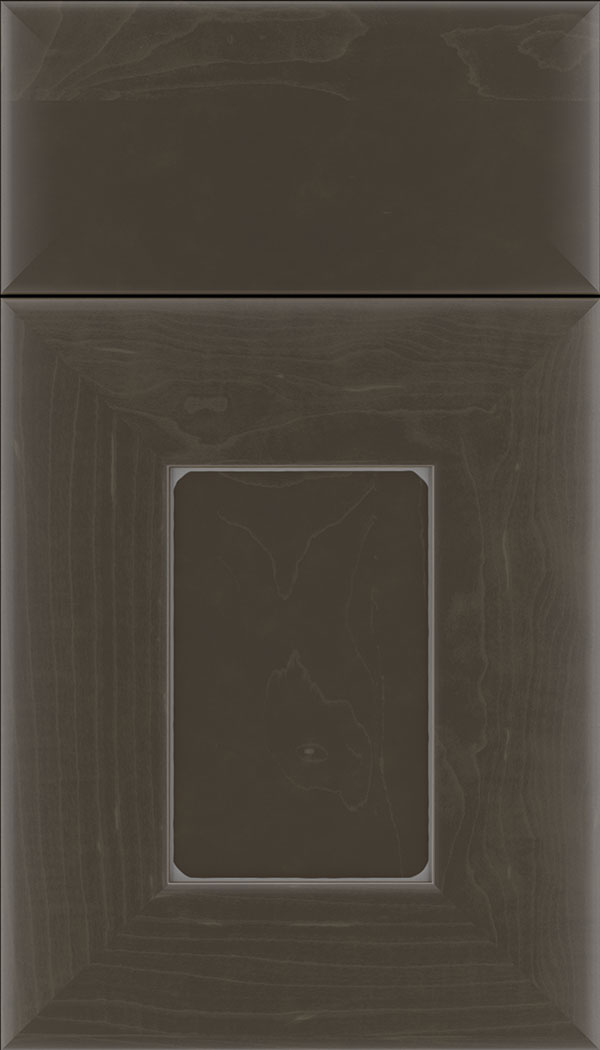 Napoli Maple flat panel cabinet door in Thunder with Pewter glaze