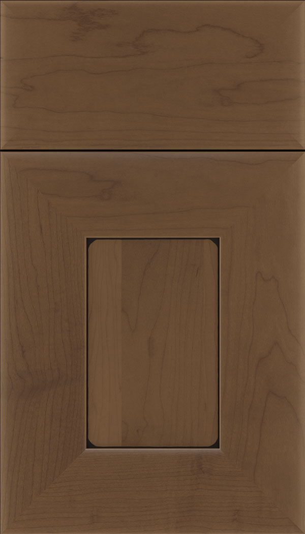 Napoli Maple flat panel cabinet door in Toffee with Black glaze