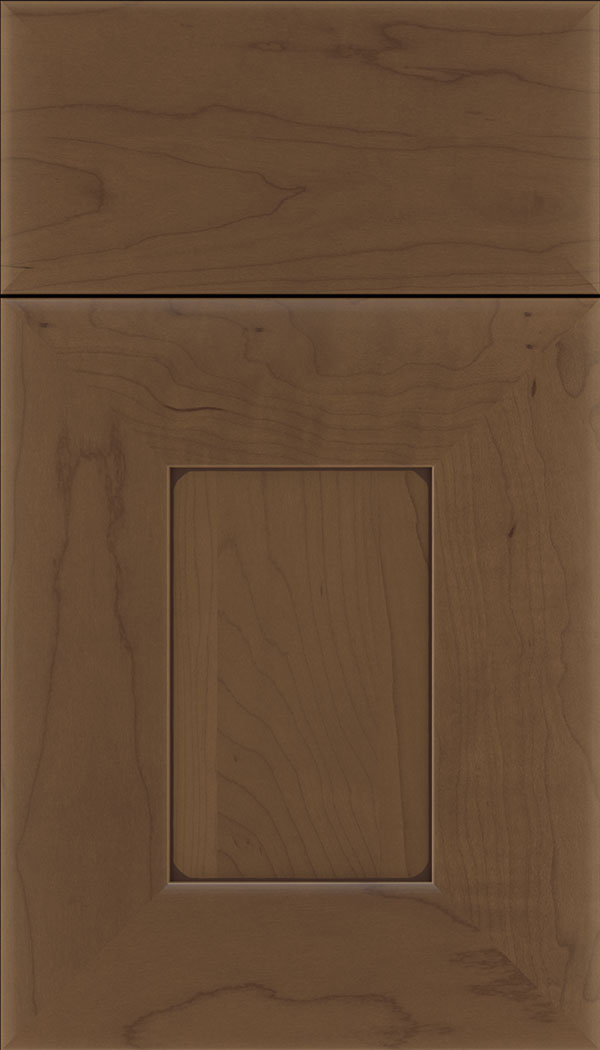 Napoli Maple flat panel cabinet door in Toffee with Mocha glaze