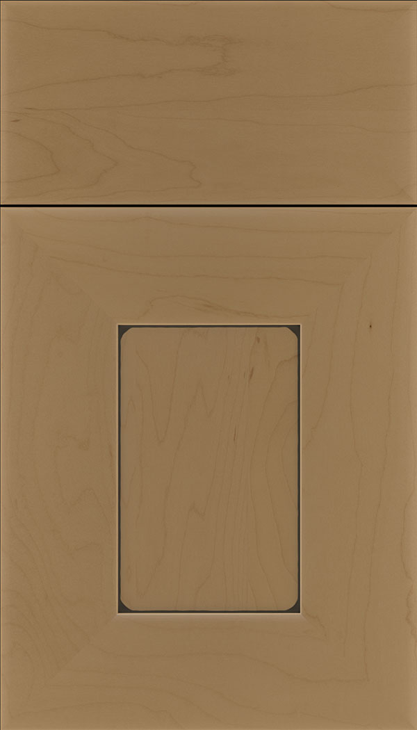 Napoli Maple flat panel cabinet door in Tuscan with Black glaze
