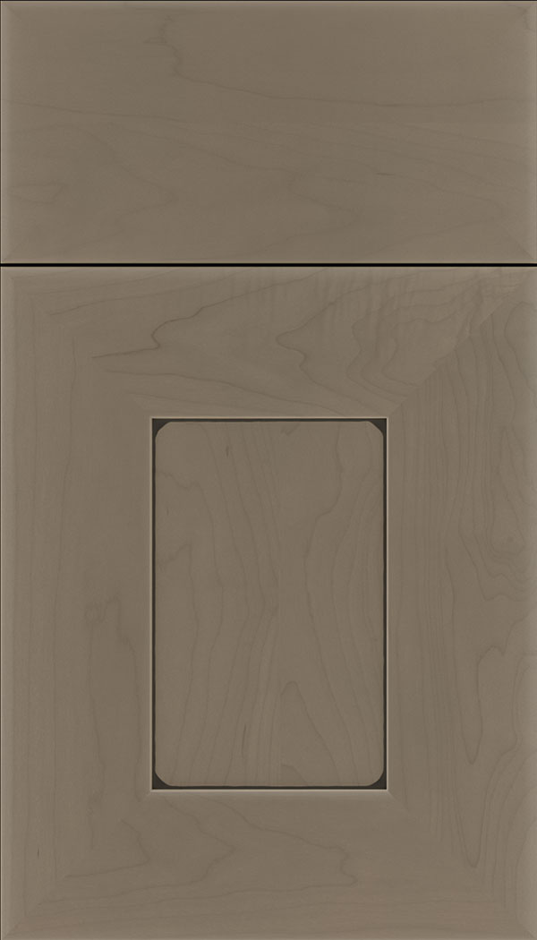 Napoli Maple flat panel cabinet door in Winter with Black glaze