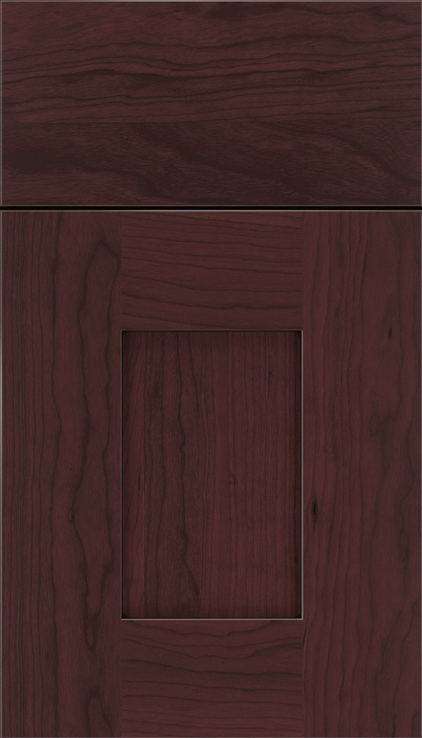 Newhaven Cherry shaker cabinet door in Bordeaux with Black glaze