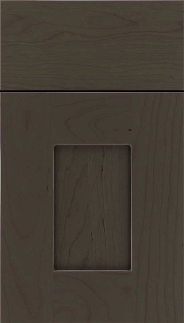 Newhaven Cherry shaker cabinet door in Thunder with Pewter glaze