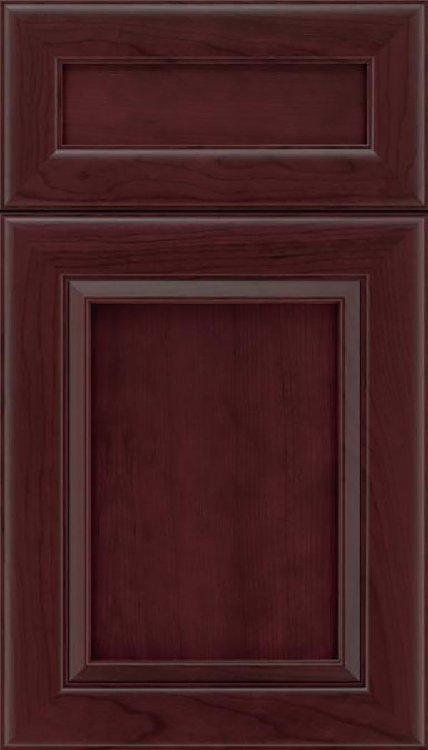 Paloma 5pc Cherry flat panel cabinet door in Bordeaux