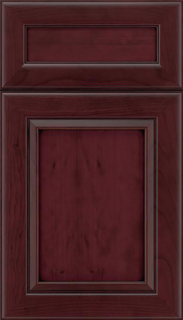 Paloma 5pc Cherry flat panel cabinet door in Bordeaux with Black glaze