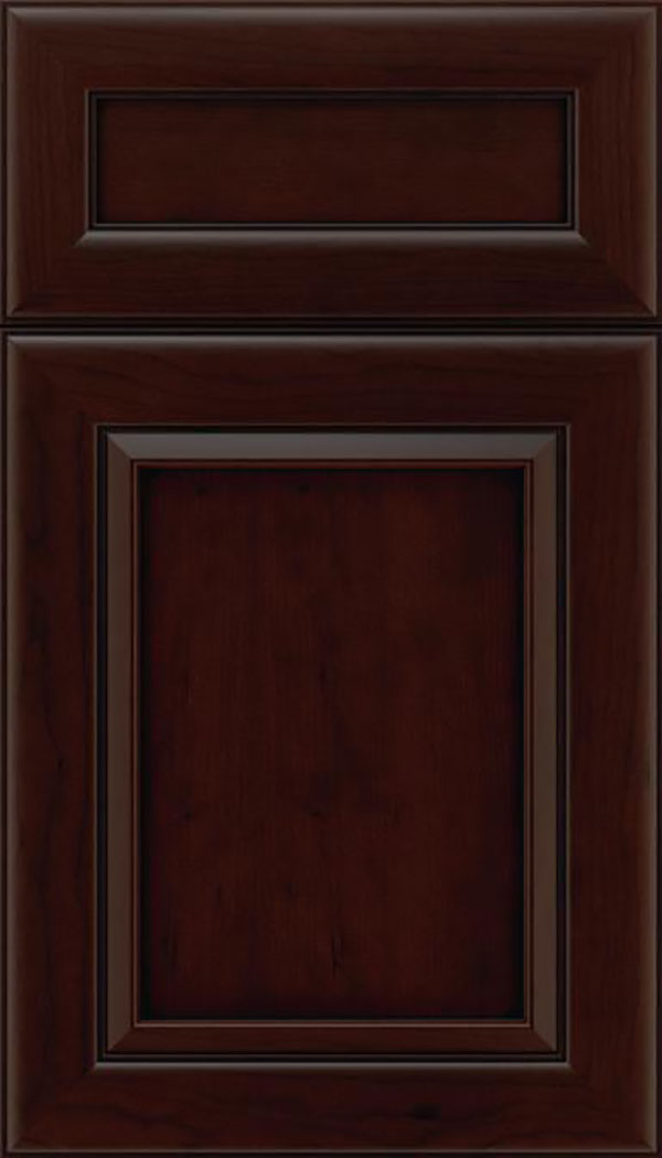 Paloma 5pc Cherry flat panel cabinet door in Cappuccino with Black glaze