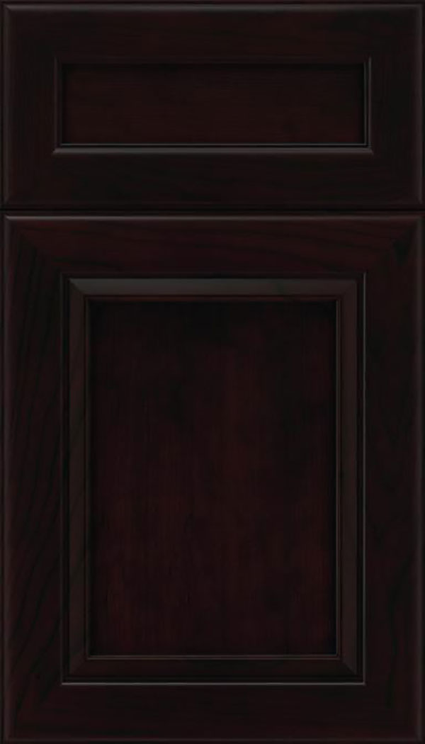 Paloma 5pc Cherry flat panel cabinet door in Espresso with Black glaze