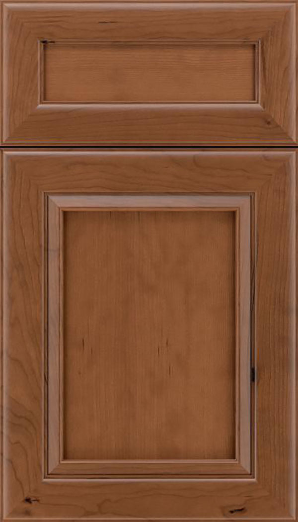 Paloma 5pc Cherry flat panel cabinet door in Nutmeg