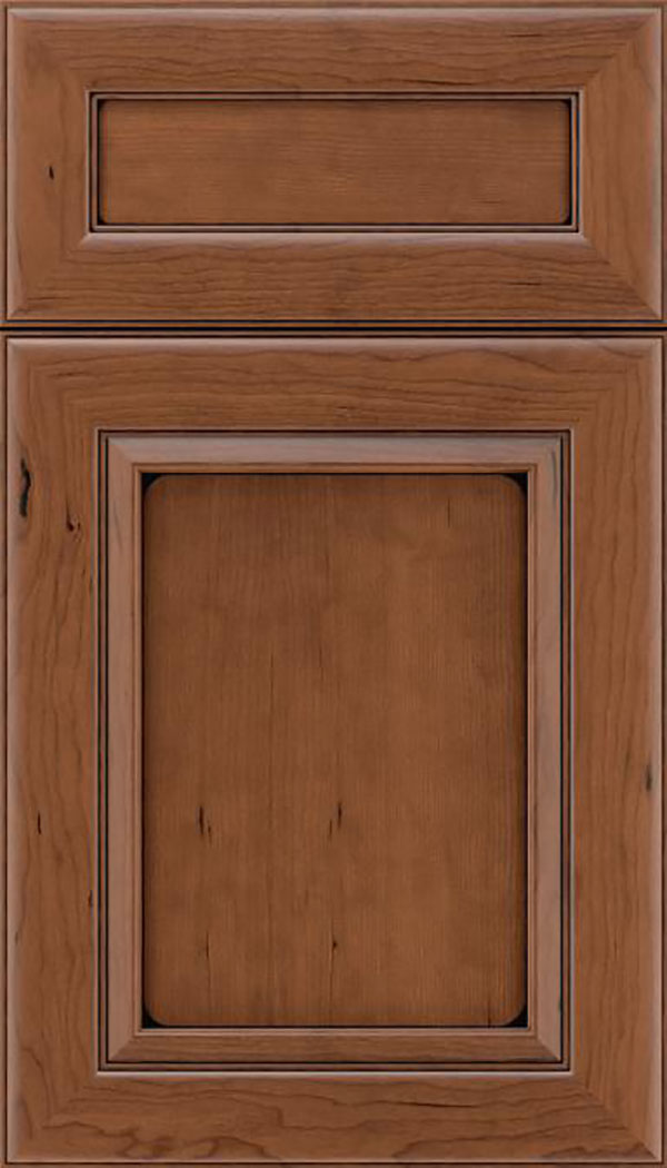 Paloma 5pc Cherry flat panel cabinet door in Nutmeg with Black glaze