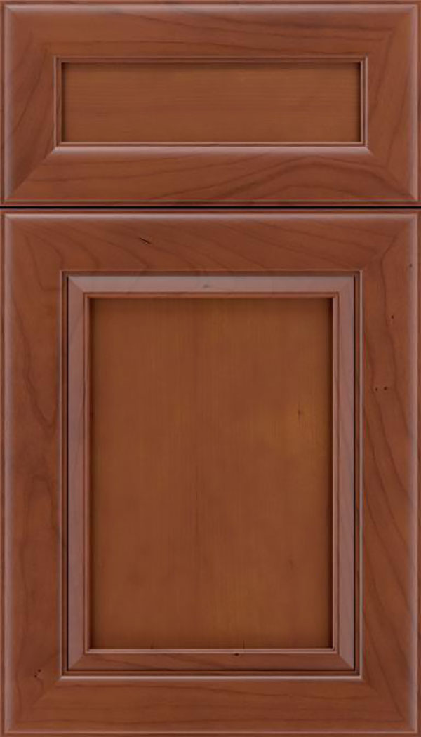 Paloma 5pc Cherry flat panel cabinet door in Russet