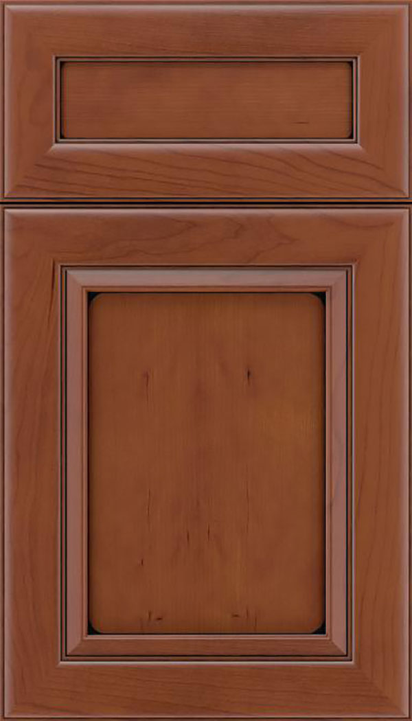 Paloma 5pc Cherry flat panel cabinet door in Russet with Black glaze