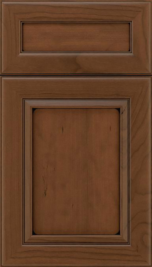 Paloma 5pc Cherry flat panel cabinet door in Sienna with Black glaze