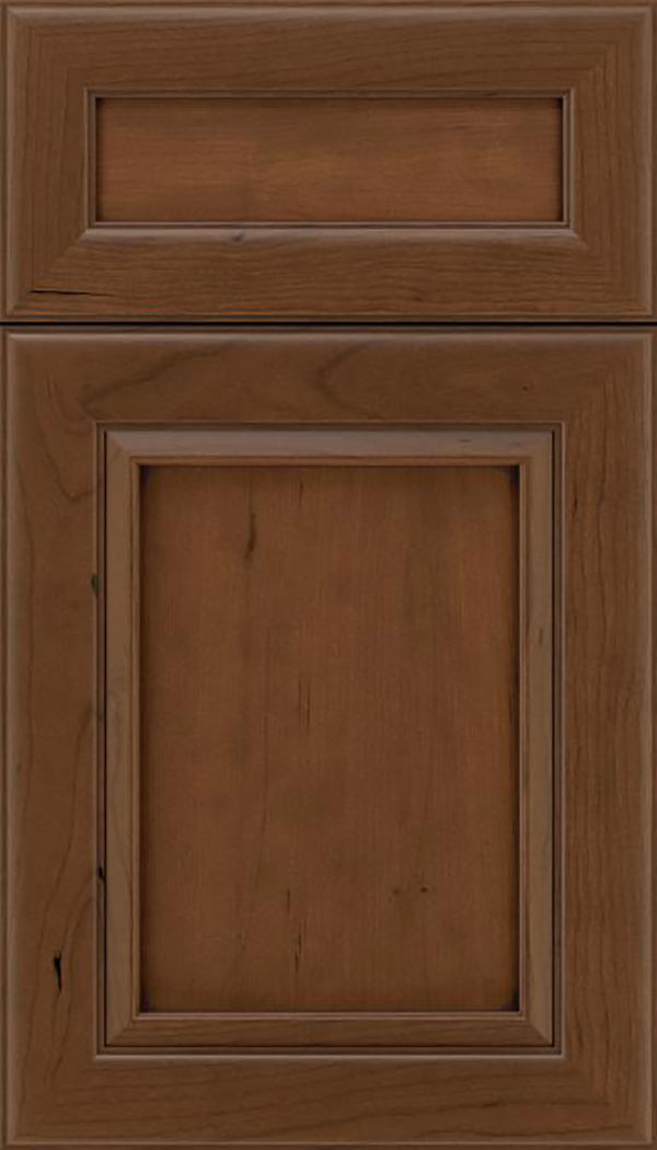 Paloma 5pc Cherry flat panel cabinet door in Sienna with Mocha glaze